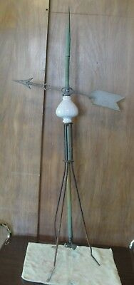 Antique Arrow Weathervane Copper Lightning Rod And Globe.