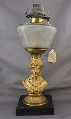 Antique Figural Stem Lady Oil Lamp Frosted Font Star Queen Anne Burner Scovill