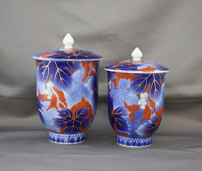 Pair VTG Fukagawa Seiji Arita Porcelain Covered Tea Cups Rust Cobalt Berries