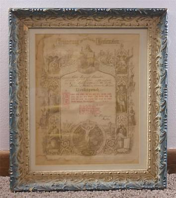 Antique Wood Gesso Frame Certificate of Confirmation German c1894 Waconia