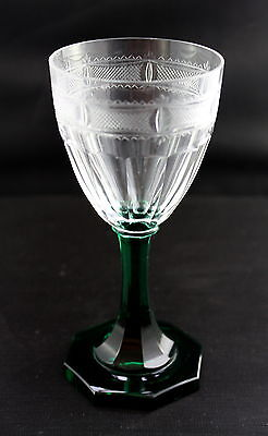 Set 3 Fine Blown Cut Wine Glasses Green Stems Ground Pontil Scandinavian Kosta