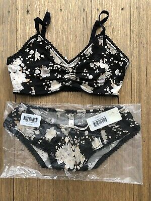 spell the gypsy collective GypsyDancer Caviar Bralette(s) & Bloomers(m) Set BNWT