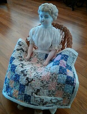 Sweet Antique Post Stamp With Playful Kittens Hand Stitched Doll Quilt