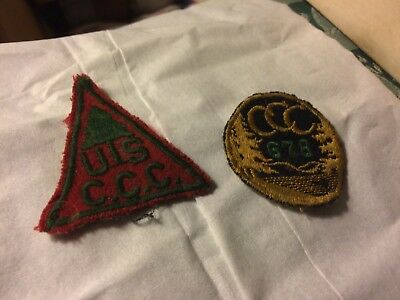 Antique nice lot of two CCC civilian conservation corps felt old original green