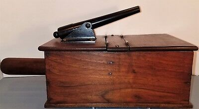 Vintage Wooden Ballot Box With Civil War Style Cannon Mounted On The Top