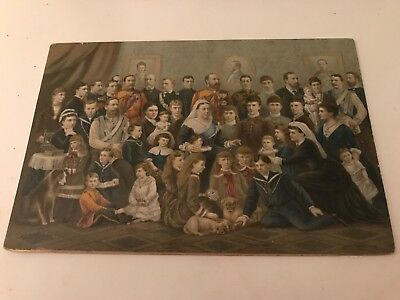 Antique Raphael Tuck Colored Photo Queen Victoria Windsor Family 1887 Large Card