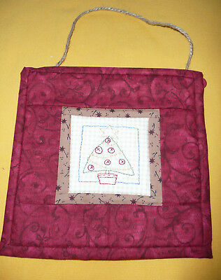 Small Naïve Christmas Tree Embroidered Quilted Wall Hanging