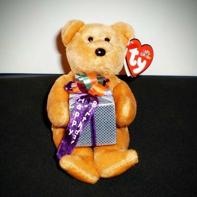 Ty Beanie Baby Happy Birthday Bear Brown with Gift 40234 2005 Retired 2006