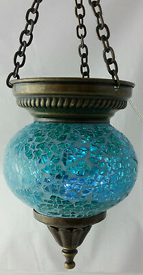 Authentic Turkish Mosaic Hanging Lamp - Pale Green/Blue