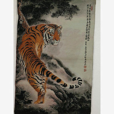 Tibet Collectable Silk Hand Painted Painting Tiger Thangka