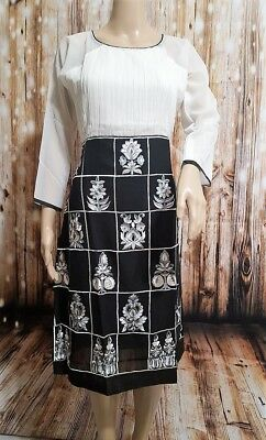 Black and White Embroidered Georgette Kurti/ Dress. Size Small. New.