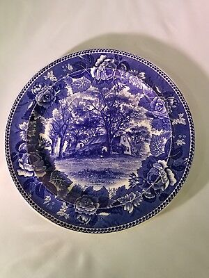 Historical Blue WEDGWOOD Collector Plate  HOMESTEAD OF THE FAIRBANKS FAMILY 1904