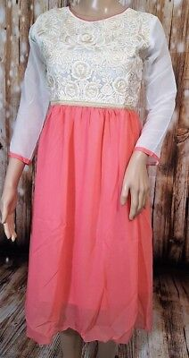 Pink Color Georgette Kurti with White Embroidery Work. Size Small. New.