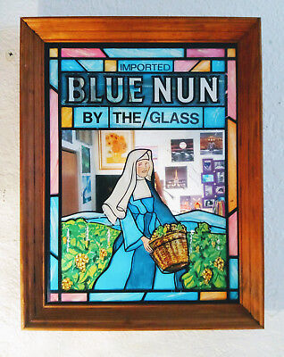 "Imported Blue Nun Wine By The Glass Vintage Mirrored Advertising Sign 18"" x 14"""