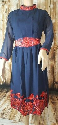 Navy Blue Georgette Kurti with Red Embroidered Work. Small. New. Free Shipping.