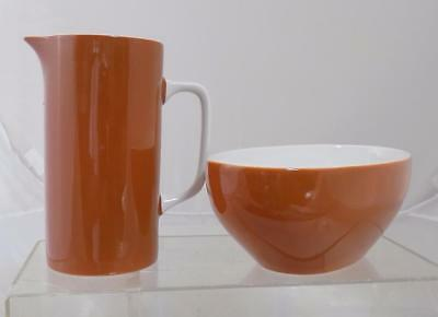 Vintage MCM Harmony House Ironstone Pitcher and Bowl Oblong Marked