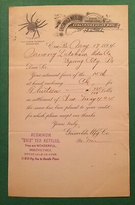 Griswold Mfg Co Letterhead Circa 1894 Initialed Matthew Griswold Sr.