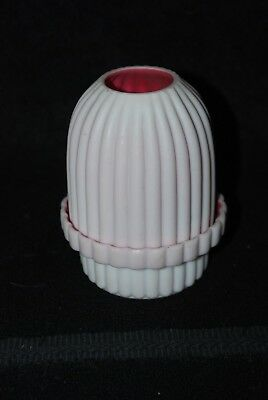 Beautiful Victorian Ribbed Pink & White Satin Fairy Lamp 1880's