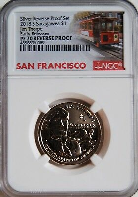 2018 S 50th Anniv. Reverse Proof Jim Thorp, Sacagawea Dollar NGC 70 Early Rel.