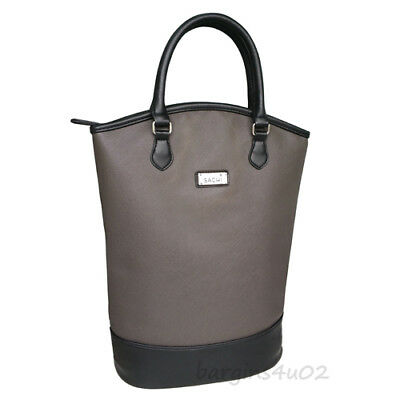 Sachi Insulated 2 Bottle Wine Tote Cooler Drink Bag Carrier Handbag Charcoal New