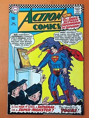 1966 DC ACTION COMICS #333 *Classic DINOSAUR SUPERMAN Cover * Nice & Solid