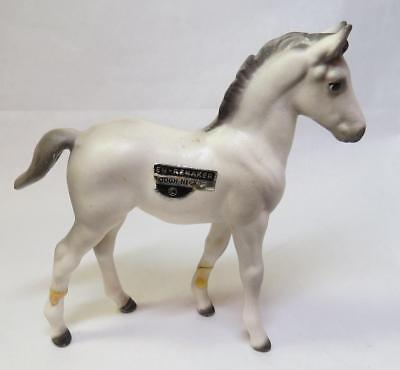 Vintage HAGEN RENAKER White & Gray ROUGH NECK Morgan Foal w Label - As Found