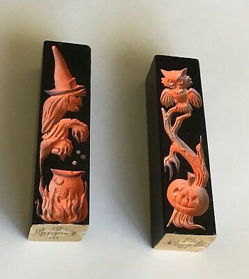 2 - Gurley Vintage Halloween Double Sided Indent Pillar Candles Witch Owl