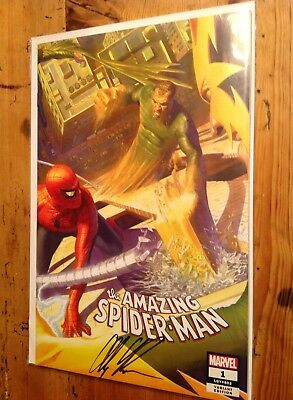 Amazing Spider-Man #1 2018 SDCC Exclusive Cover B Variant Signed Alex Ross w/COA