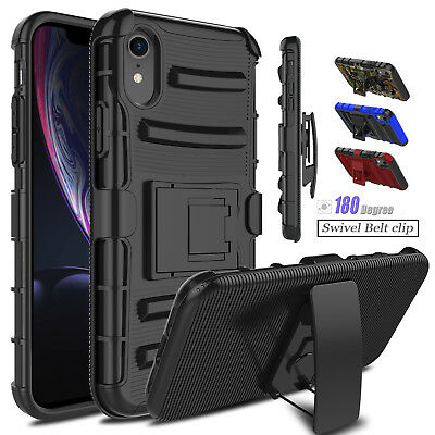 For iPhone XR Military Armor Case With Kickstand Holster Belt Clip Rugged Cover