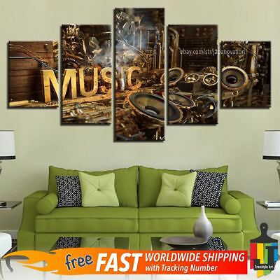 5 Pieces Home Decor Canvas Print Musical Instruments Wall Art Modern Poster