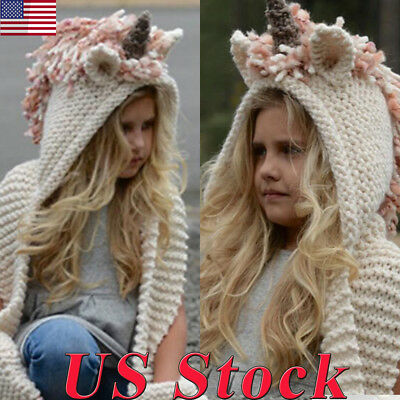 Unicorn Hat Mittens Cape Cute Girl Warm Knitted Winter Christmas Cap Scarf Amice