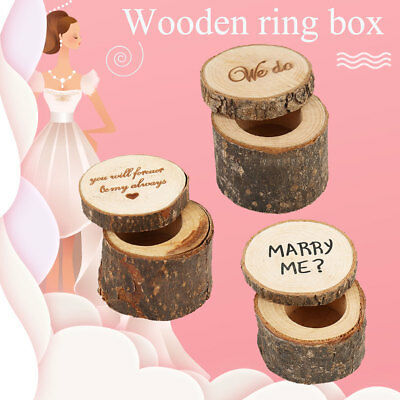 Rustic Wedding Engagement Ring Box Bearer Custom Wooden Ring Holder Case Gifts