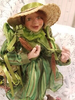 """Raz Imports Garden St. Patricks Day Standing Doll With Poodle 16"""" Tall"""