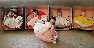 Lot of Madame Alexander Set of Little Women Collection 5 Dolls, 4 in boxes