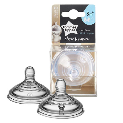 Tommee Tippee Closer to Nature Medium Flow Baby Bottle Feeding Nipples, 0+ month