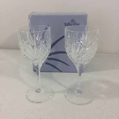 "Pair of Singapore Airlines Raffles Class Crystal Cordial Glasses 4 5/8"" NEW"
