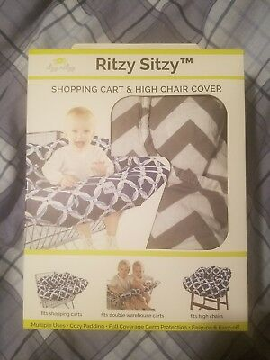 Shopping Cart/High Chair Cover by Itzy Ritzy Grey Chevron New in Box