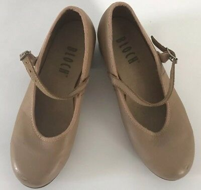 BLOCH Tan Leather Tap Shoes Girls Childrens Size 13.5