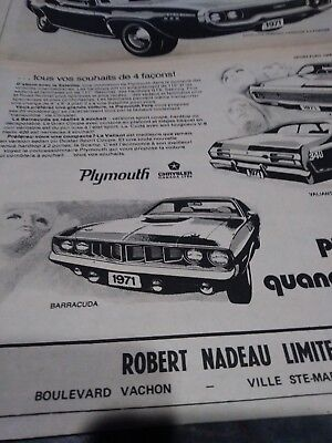 plymouth ad 71 hemi cuda duster 340 poster roadrunner french canada rare vintage