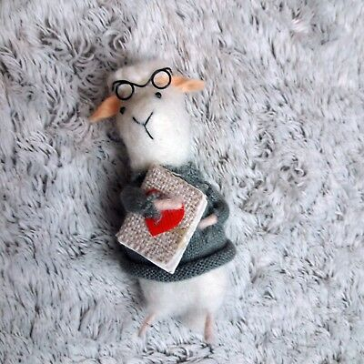 """Felted Wool Cute and Decorative Sheep with glasses holding book 5"""" Tail Swivels"""
