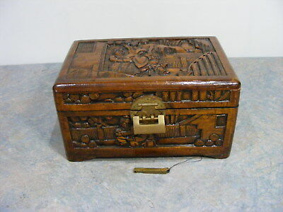 Antique Vintage Chinese Hand Carved Timber Storage Box, Lined, With Lock & Key