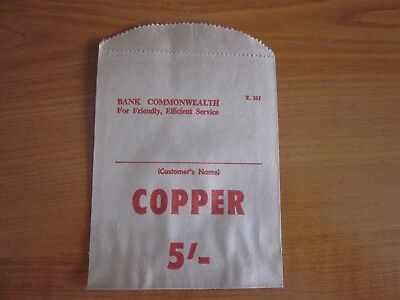Commonwealth Bank 5/- of Copper, Paper coin bag. Pre-Decimal