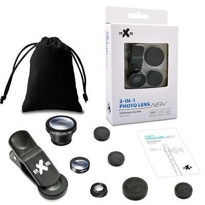 2 Pack 3 in 1 Phone Camera Lens Clip-on Kit. Fish Eye, Macro, Wide Angle + Bag