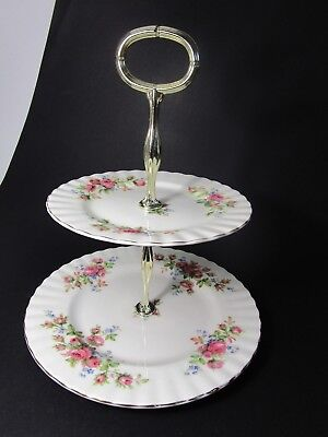 Royal Albert Moss Roses 2 Tier Cake Stand