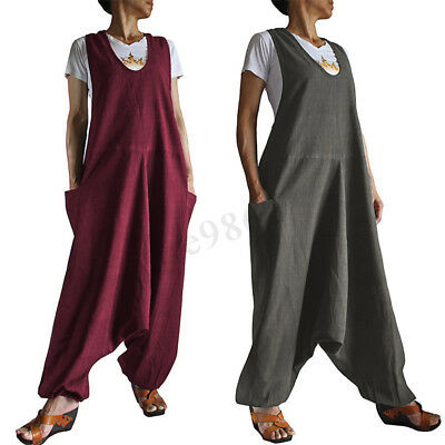 Maternity Pregnant Women Vintage Baggy Loose Playsuit Romper Overalls Jumpsuits