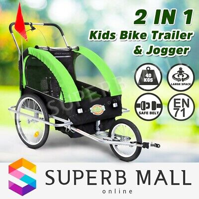 Kidbot Kids Child Bike Trailer Bicycle Pram Stroller Children Jogger 2IN1 GREEN