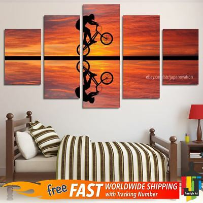 5 Pieces Home Decor Canvas Print Wall Art Abstract Sunset Bike Cycling Poster
