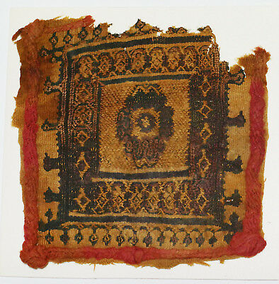 4-8C Ancient Coptic Textile Fragment - Part of Clothes, Emblem, Braid Pattern