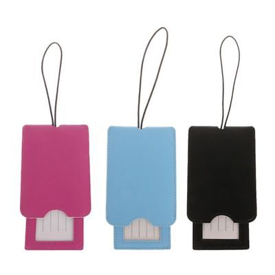 Travel Leather Luggage Tags Labels Strap Name Address ID Suitcase Bag Baggage