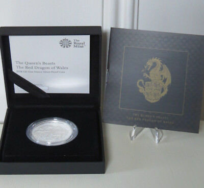 2018  THE Queen's Beasts The Dragon Of Wales  1 Oz Silver Proof  Coin Royal Mint